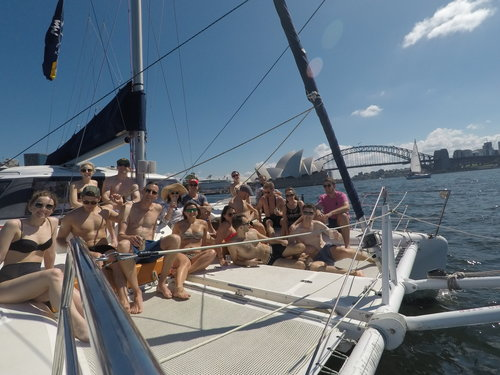 enjoying catamaran hire sydney harbour